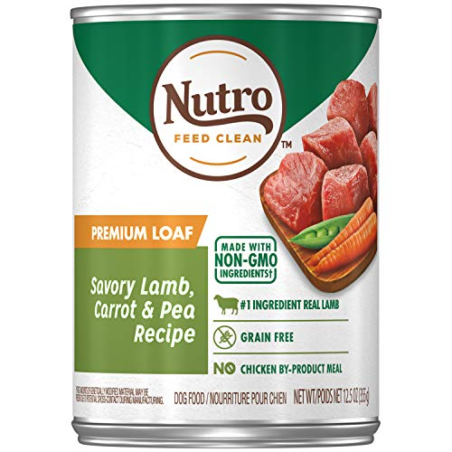 NUTRO PREMIUM LOAF Adult High Protein Natural Wet Dog Food Savory Lamb, Carrot & Pea Recipe, (12) 12.5 oz. Cans