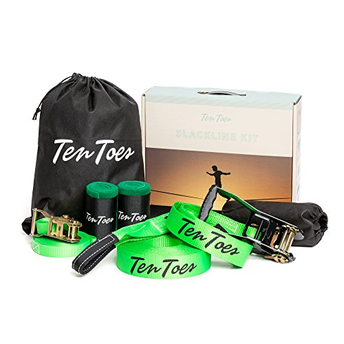 Ten Toes Slackline Kit with 50-ft 2-inch Slackline, Included 50-ft Training Line, Tree Protectors, Carrying Case, Easy Set up for Beginner to Advanced
