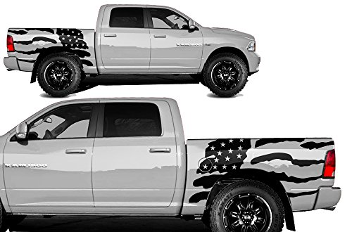- Factory Crafts Patriot Side Graphics Kit 3M Vinyl Decal Wrap Compatible with Dodge Ram 5.7 Bed 2009-2018 - Matte Black
