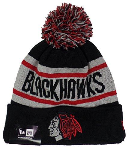 Chicago Blackhawks Black Biggest Fan Cuffed Pom Knit Beanie Hat / Cap