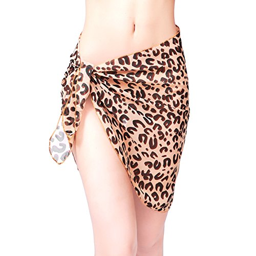 ChinFun Women's Sarong Wrap Beach Swimwear Chiffon Cover Up Short Pareo Bikini Swimsuit Wrap Skirt Bathing Suit Shawl Semi-sheer Translucent U Shape Pattern Leopard Print
