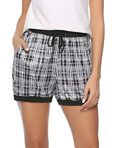 (Hawiton Women's Plaid Milk Silk Sleeping Long Pyjama Jogger Shorts)