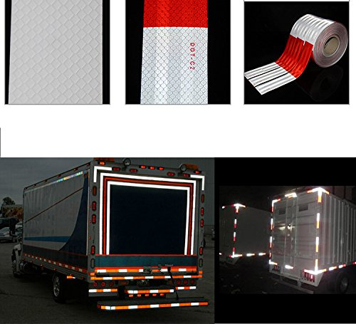 Knit Reflective Tape 2'' X30' Red White DOT-C2 High Intensity Grade - Conspicuity Safety Warning Tape for Cars Reflector Tape - 2 inch Waterproof Trailer Reflector Tape 1 Roll by Knit (Image #4)
