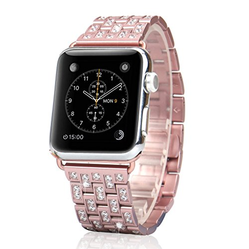 (Mojidecor for Luxury Apple Watch Band 42mm Replacement Rose Gold Jewelry Band Swarovski Crystal Rhinestone Bracelet Wristband Stainless Steel Strap for Sport Edition)