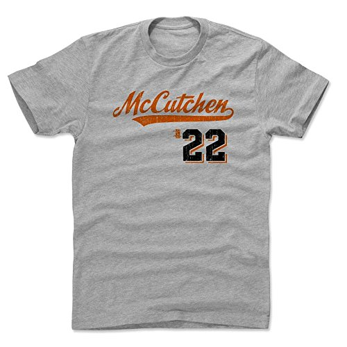 Andrew McCutchen Cotton Shirt Medium Heather Gray - San Francisco Baseball Fan Apparel - Andrew McCutchen Script O