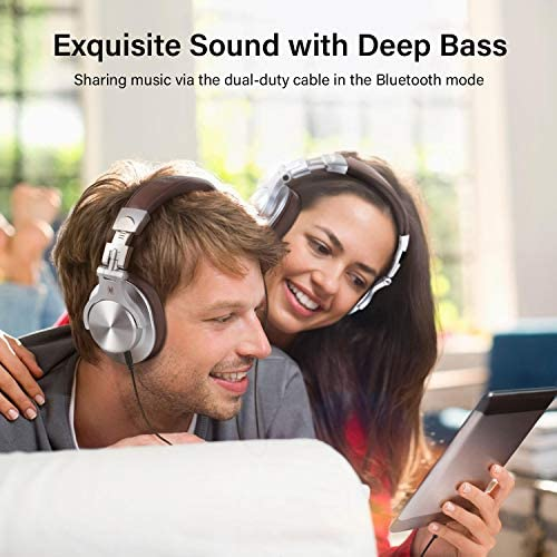 OneOdio A70 Bluetooth Over Ear Headphones, Studio Headphones with Shareport, Foldable, Wired and Wireless Professional Recording Headphones with Stereo Sound for Electric Drum Piano Guitar (Silver)