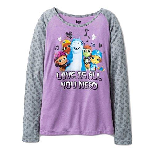Price comparison product image Beat Bugs Shirt for Girls Long Sleeve Raglan T Shirt Purple Beat Bug Character (6/7)