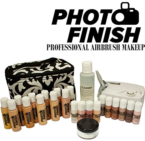 Photo Finish Professional Airbrush Cosmetic Makeup System Kit / Fair to Medium Shades (Deluxe Luminous Finish) by Advanced Skin Care