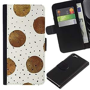 KLONGSHOP // Tirón de la caja Cartera de cuero con ranuras para tarjetas - Marrón Negro Modelo de lunar beige - Apple Iphone 6 //