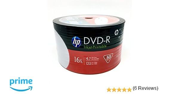 hp dvd-r47 16x white hub inkjet printable surface 50pcs bulk colour ...