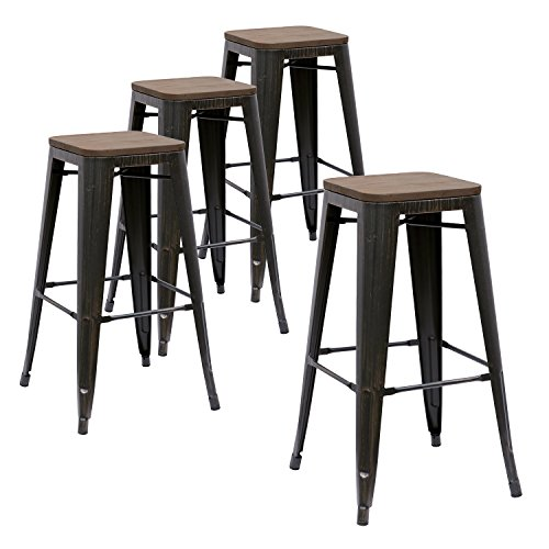 LCH 30 Metal Bar Stools, Kitchen Stackable Modern Dining Bar Chairs with Square Elm Wood Seat, 350LB Limit, Set of 4, Sanded Black