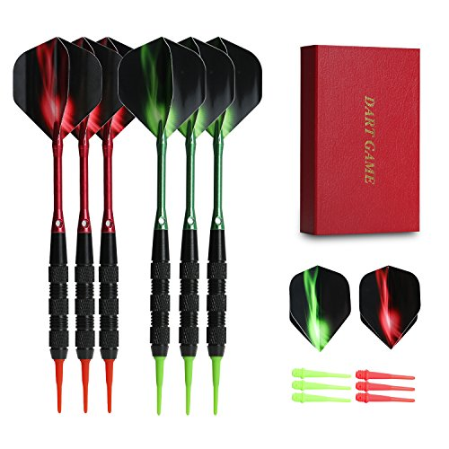 Vopa Professional 17 Grams Soft Tip Darts Set with Plastic Tip, 2 Styles Dart Flights Aluminum Dart Shafts 12 Soft Tip Points for Electronic Dartboard (Tip Plastic)