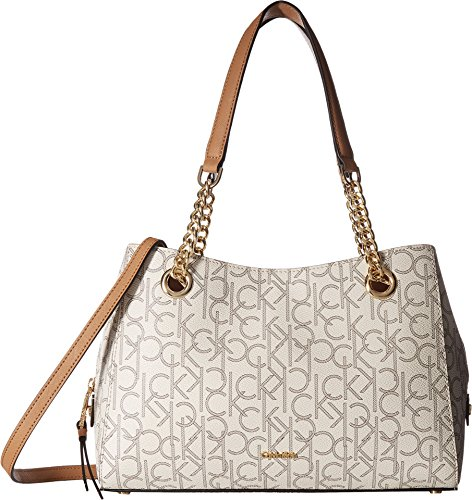 Calvin Klein Women's Monogram Satchel Almond/Khaki One Size by Calvin Klein