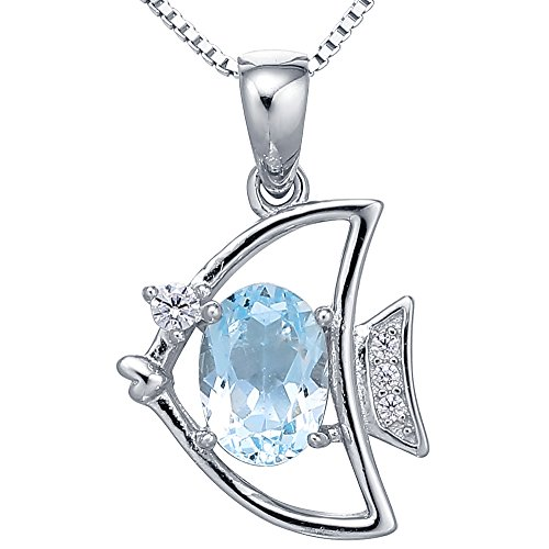 Sterling Silver Oval Cut Blue Topaz Birthstone Fish Pendant Necklace for Women, 18