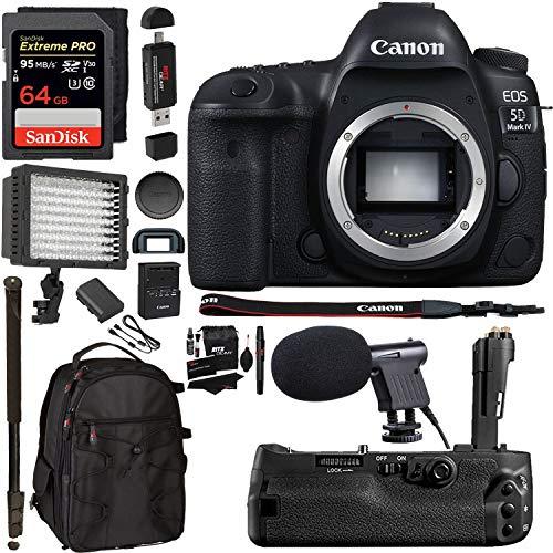 "(Canon EOS 5D Mark IV DSLR Camera Body + 5D IV Camera Grip + 64GB Memory Card + Microphone + Polaroid 160 LED Video Light + 72"" Monopod + SLR Backpack Accessory Bundle)"