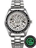 Alienwork IK Lumineux Automatic Watch Self-winding Skeleton Mechanical luminous dial Metal white silver 98545S-S-02