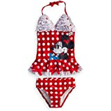 Disney Store Minnie Mouse Swimsuit Size Medium 7/8: Deluxe Red 2-Piece Swimwear