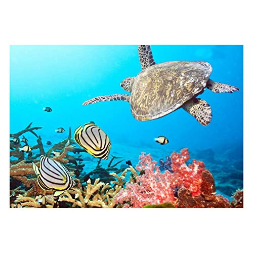 VKTECH Sea Turtle Full Drill 5D DIY Diamond Painting Kit Round Rhinestone Embroidery Cross Stitch Needlework Art Craft Gift for Home Living Room Decor 12 x 16 inch