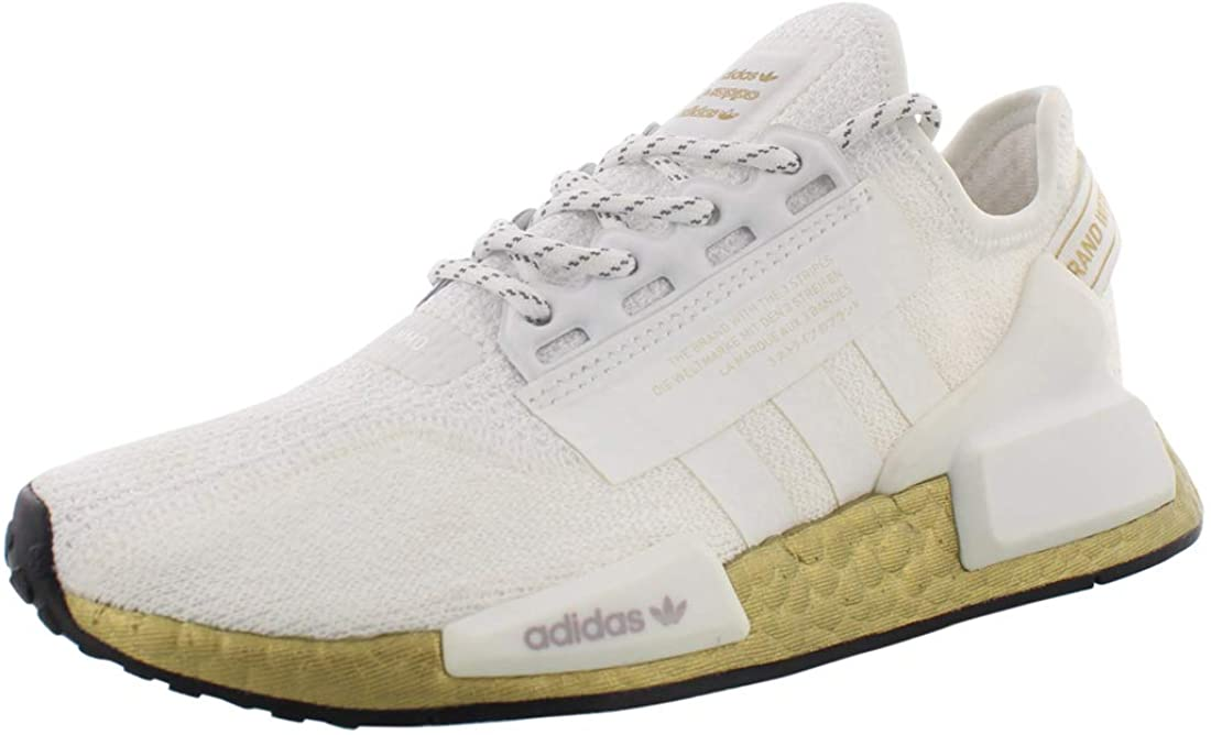 adidas Womens NMD_R1 V2 R1 White Gold Casual Fashion Running Athletic Shoes