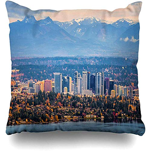 Throw Pillow Cover Cushion Case Square 18x18 Inch Downtown Skyline Bellevue Washington Snowy Alpine Lakes Cloudy Wilderness City Fall Aerial Afternoon America Wa Home Decor]()