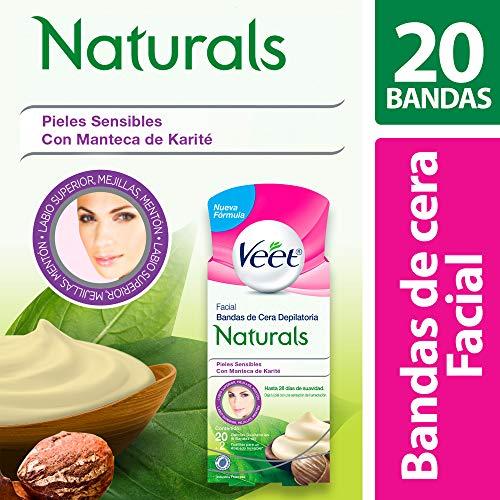 Bandas Depilatorias Faciales de Cera Fría, Veet Naturals Para Piel Sensible, Caja con 20 piezas