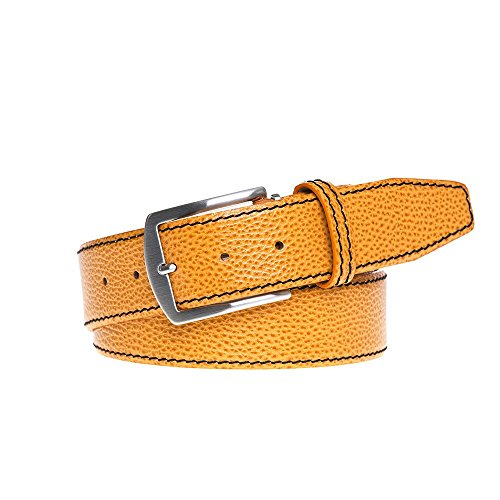 Orange Italian Pebble Leather Belt by Roger Ximenez: Bespoke Maker of Fine Leather Goods
