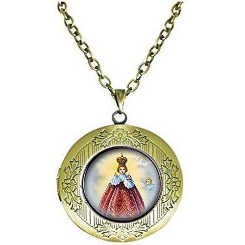 Holy Infant Jesus of Prague Locket Necklace. Catholic Religious Locket NecklaceChristian Locket NecklaceJesus Medal Approx. Nickel Size