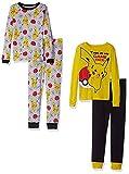 Pokemon Boys' Pikachu 4-Piece Cotton Pajama Set, Pikachu Yellow, 6