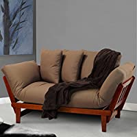 Futon Convertible Sofa Daybed Deep Seating Adjustable Indoor Furniture - Oak/Khaki