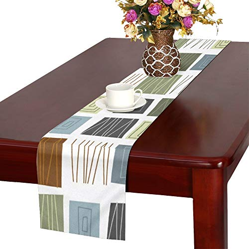 XINGCHENSS Mid Century Modern Design Cabin Patterns Table Runner, Kitchen Dining Table Runner 16 X 72 Inch for Dinner Parties, Events, Decor