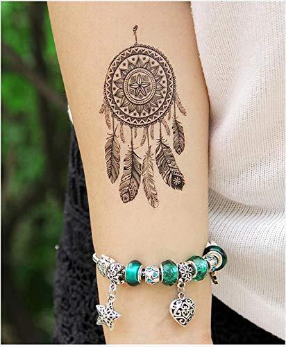 Tatuajes temporales para hombre y mujer con plumas de mandala y ...