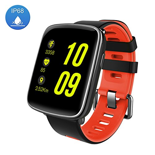 Smart Watch Sport Fitness Tracker - Luxsure IP67 Waterproof Step Counter Activity Tracker Heart Rate & Sleep Monitor Touch Screen Wristband for IOS/Android Smartphones (Fashion Red) by LUXSURE