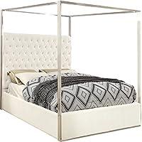 Meridian Furniture PorterWhite-K K Porter Velvet Bed, King, White