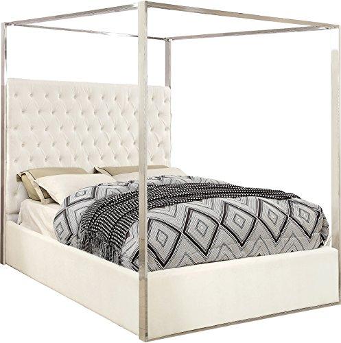Meridian Furniture PorterWhite-K Porter Velvet Bed, King, White