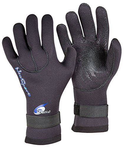 (Neo-Sport 3MM & 5MM Premium Neoprene Five Finger Wetsuit Gloves with gator elastic wrist band. Use for all watersports, diving, boating, cleaning gutters, pond and aquarium maintenance.)
