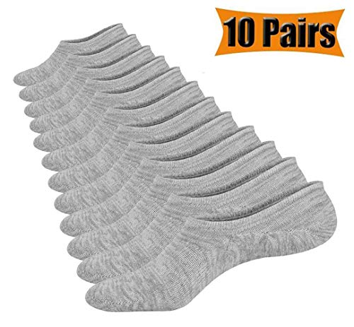 Light up in the Dark 10 Pairs No Show Socks Cotton Low Cut Loafer Casual Socks for Men & Women (Gray)