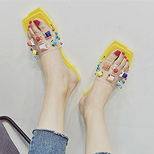 Rivets Slides Womens Studded Flat Bohemia Toe T on Fashion Dressy Square Yellow Ladies Colorful Slip JULY Platform Sandals wS5qnaXH