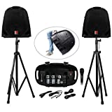 Rockville GB1 Portable Powered PA System with Mixer Plus Speakers Plus Stands Plus Mic DJ Package