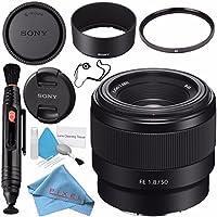 Sony FE 50mm f/1.8 Lens SEL50F18F + 49mm UV Filter + Lens Pen Cleaner + Fibercloth + Lens Capkeeper + Deluxe Cleaning Kit Bundle