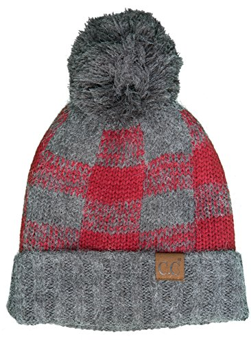 H-199CP-2164 Buffalo Check Hat w/ Grey Pom - Grey/Burgundy from Funky Junque