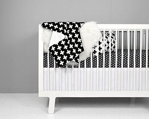 Crib Bedding Set - Nordic Cross design in Black and White by OLLI+LIME