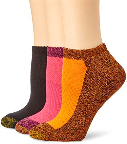 Gold Toe Women's 3-Pair Aquafx Tec No Show, Pink Marl/Black/Orange Marl, 9-11 (Toe Socks Toe Stretch Gold)