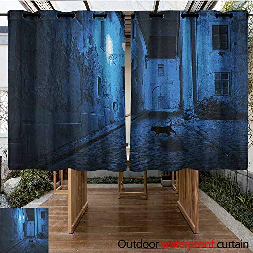 AndyTours Outdoor Grommet Top Curtain Panel,Urban,Black Cat Crossing Deserted Street at Night Mysterious Old European Town Alley,for Patio/Front Porch,K183C183 Blue Black White