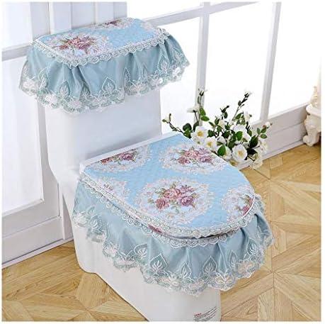 便座カバー、バスルームレースソフト太いウォーマー洗える布便座、3点セット(ブルー) (Color : Blue)
