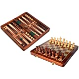 Crafts'man 2 In 1 Game Chess with Back Gammon Magnetic FOLDING Chess Board
