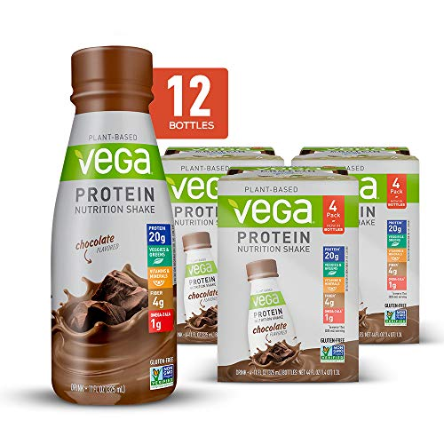 Vega Protein Nutrition Shake Chocolate 11floz (Pack Of 12) - Ready to Drink, Plant Based Vegan Protein, Gluten Free, Dairy Free, Soy Free, Vegetarian, Vitamins, Non GMO (Best All In One Protein Powder)