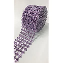 "Ben Collection 4"" X 10 Yards (30 Feet) Flower Diamond Mesh Faux Rhinestone Ribbon Wrap for Wedding, Party, and Events Decoration (Lavender)"