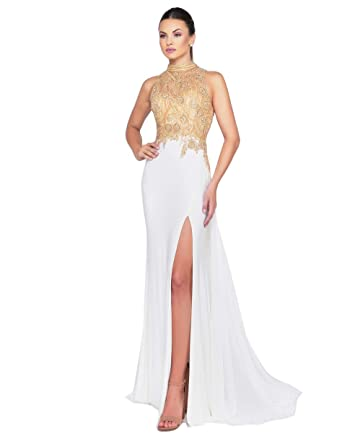 c2f9a4096453 Mac Duggal Prom - High Neck High Slit Floral Pattern Gold Ball Gown at  Amazon Women's Clothing store: