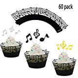 LQQDD (Set of 60) Music Notes Cupcake Topper Music Notes Cupcake Wrappers Lace Muffin Case Cupcake Paper Liner,Music Notes Decorations Party Supplies Birthday Cake Decorating Tools Baby Showers Party