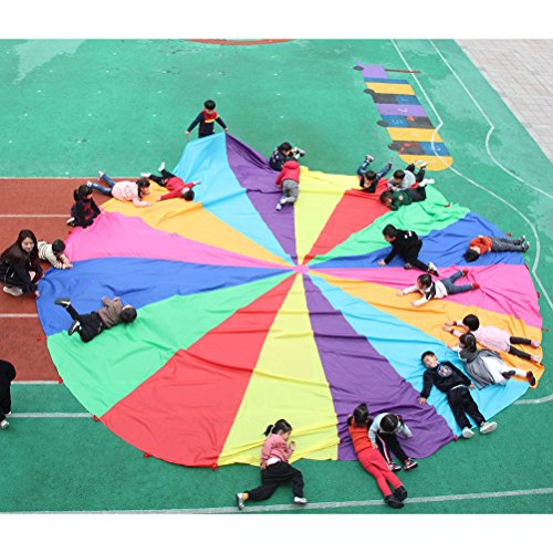 NUOBESTY Play Parachute Multicolored Children Team Work Educational Toy for Outdoor Games Sports Activities Cooperative Games by NUOBESTY (Image #3)